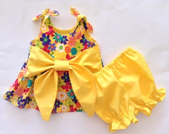 Baby Yellow Top, Baby Flower Top, Baby Butterfly Top, Baby Top, Baby Bloomers, 6-12 Mo