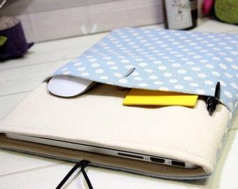 12 Macbook sleeve, Macbook Air case 11, 12 inch laptop case, mod laptop sleeve, polka dot Macbook case, sky blue laptop, New Macbook case 12