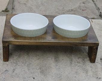 Cat Bowl Stand - Green Mosaic Bowl