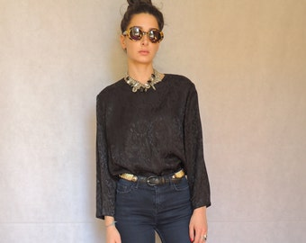 80s 90s Vintage Black Shiny Long Sleeve Slouchy Top Shirt Blouse