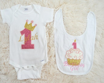 First Birthday Baby Girl Outfit-Baby Girl Birthday Outfit- One Crown Birthday Outfit-Crown Birthday Outfit-Birthday Girl Outfit