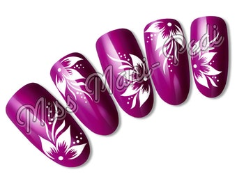 Nail Art Water Slide Decals Transfers White Tropical Flowers with Leaves and Dots Y003