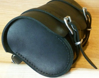 Motorcycle front forks tool bag, genuine leather, hand stitched.
