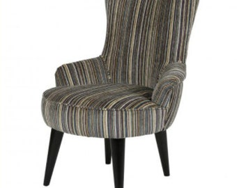 Vintage style occasional curvy striped bohemian modern arm chair