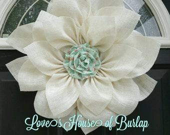 Burlap flower wreath, Nursery wall decor, Flower wreath, Spring wreath, Summer wreath, Baby shower wreath, Nursery decor, Front door wreath