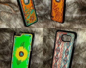 IPhone/Galaxy Cell Phone Case Custom Leather Hand Tooled