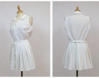 Vintage Australian authentic 50s 60s white cotton tennis mini pleateds dress - size M/L