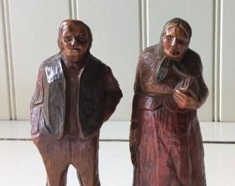 Wooden Folk Art Figurines/Wooden Figurines/Folk Art/Figurines/Wood Sculpture/Art & Collectibles/Decorative Arts/Swiss Figurines/Wood Figures