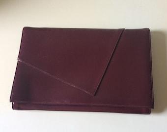 Ande' Vintage Clutch/Asymmetrical Foldover Convertible Clutch/Burgandy Foldover Clutch/Vintage Handbags/Ande' Handbag/Burgandy Crossbody Bag