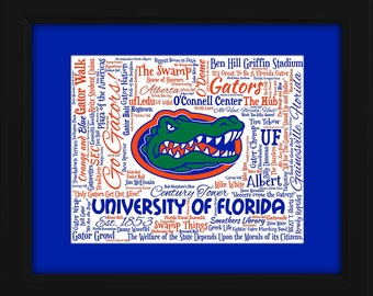 University of Florida (UF) 16x20 Art Piece - Beautifully matted and framed behind glass