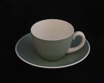 Two Classic Vintage Poole Twintone Sage Green and White Coffee Cup and Saucer Duos
