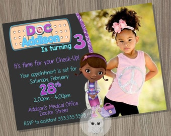 Doc McStuffins Invitation, Doc McStuffins Birthday Invitation, Doc McStuffins Party, Doctor Invitation, Doc Invitation, Mcstuffins Birthday
