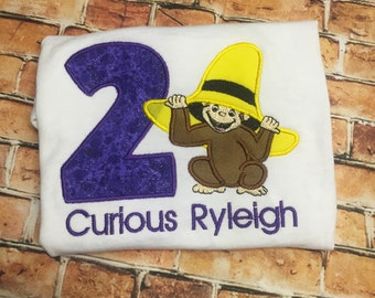Curious George Birthday shirt, race track birthday shirt,  /Mouse Birthday / Embroidery Shirt/ Birthday Shirts/ Applique Embroidery shirt
