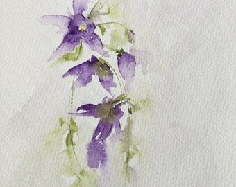 Columbine watercolor painting with delicate purples and greens.