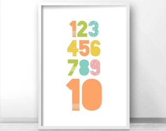 Numbers Kids Print, Playroom Decor, Kids Wall Art, Pastel Nursery Print, Printable Nursery Wall Art, Playroom Print, Printable Kids Room Art