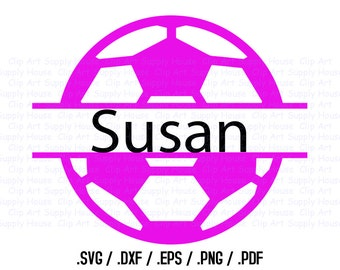 Soccer Ball Namesake Frame Design Files, Use With Silhouette Software, DXF Files, SVG Font, EPS File, Svg Font, Initials Silhouette - CA237