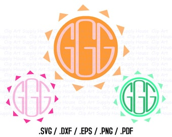 Tribal Sun Circle Monogram Frame Design Files, Use With Silhouette Software, DXF Files, SVG Font, EPS File, Svg Font, Silhouette - CA274