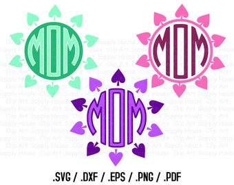 Spades Circle Monogram Frame Design Files, Spades Clipart, Silhouette Software, DXF Files, SVG Font, EPS File, Cricut Design Space - CA277