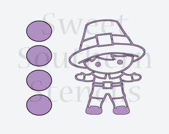 Little Boy Pilgrim Thanksgiving PYO Cookie Stencil