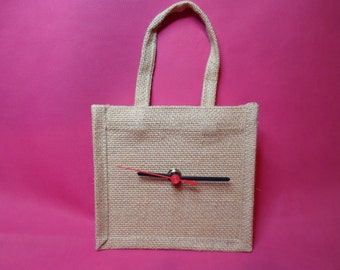 Reduced Price  Small hessian bag style wall clock   1 only
