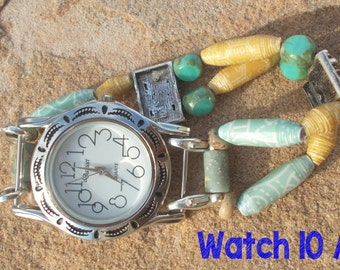 Sea foam green and pale yellow paper bead interchangeable watch band with choice of watch faces