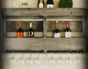 Aged grey double wall wine rack