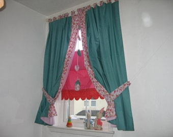 Unique and handmade pure cotton nursery curtains from Rose Garden Collection in stripy teal and roses