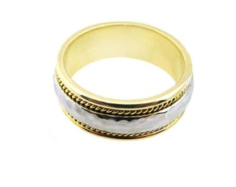 14k Two Tone Gold Hammered  Finish Wedding Band