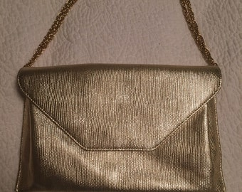 Vintage Gold Metallic Clutch Purse Evening Bag Gold Chain