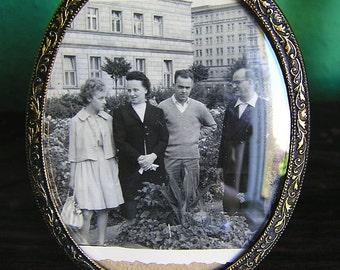 70s Mini photo frame with flowers rim / Glass + Bronze Brass