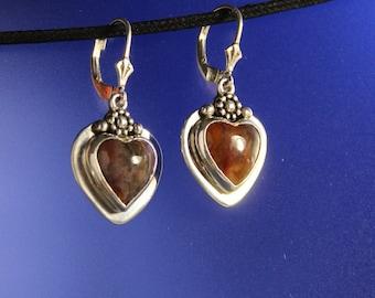 Heart Red Agate Stone Earrings Bezel set Sterling Silver Handcrafted