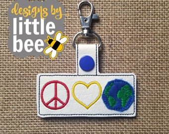 peace, love, earth! snap tab keychain key fob design project embroidery design 4x4 hoop. Instant Download! bean stitch.