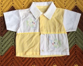 Yellow Gingham Fish Shirt 12 Months