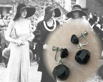 Elegant Vintage Jet Black Beaded Screw Back Earrings, Circa 1930s
