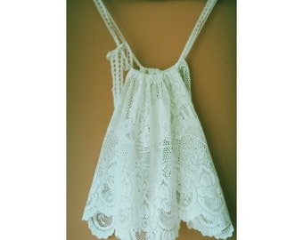 delicate  recycled white lace ladies top