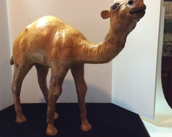 Vintage leather dromedary camel statue