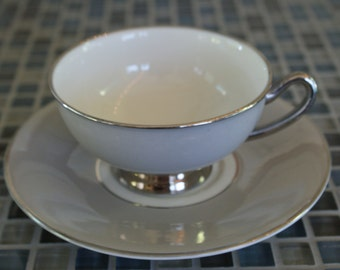 Syracuse Fine China, Debutante Gray, Flat Cup and Saucer