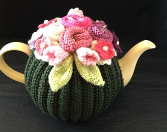 Tussie Mussie -Hand Knitted Tea Cosy, Hand knit, Wool, Pearls, Kitchen, Handcrafted, Handmade, Gift, Present, Tea Cozy (4-6 cup)