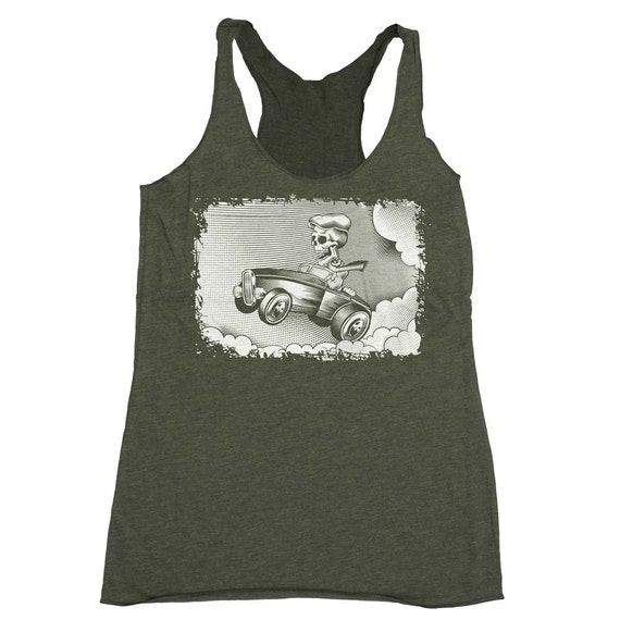 Car Shirt - Hotrod Car Shirt -Skeleton Driving a Muscle Car- Day of The Dead-  Sugar Skull Art -  Hand Screen Printed on a Womens Tank