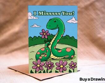 I Miss You Snake Card - Missssing You Snake Greeting Card - Missing You Greeting Card - Snake Card