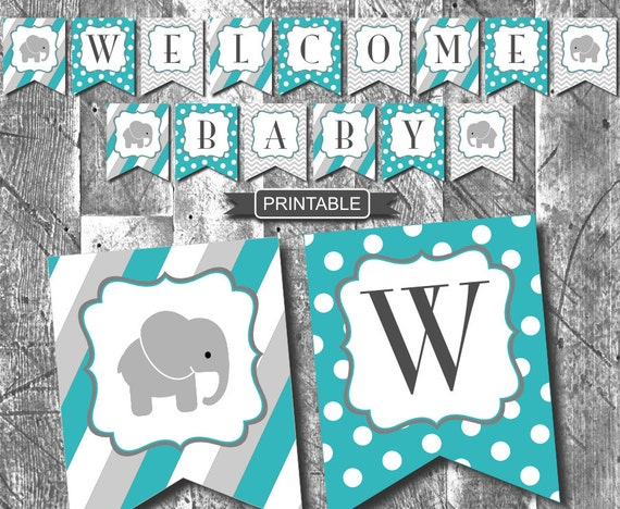 Teal green grey chevron boy elephant baby shower decorations - Baby shower chevron decorations ...