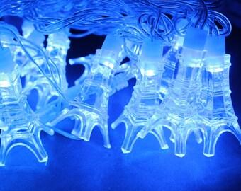 French Eiffel Tower linkable LED String lights, French, European, teen room, Christmas Light, Fairy Light