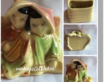 Mid. Century head doll planter Chinese couple