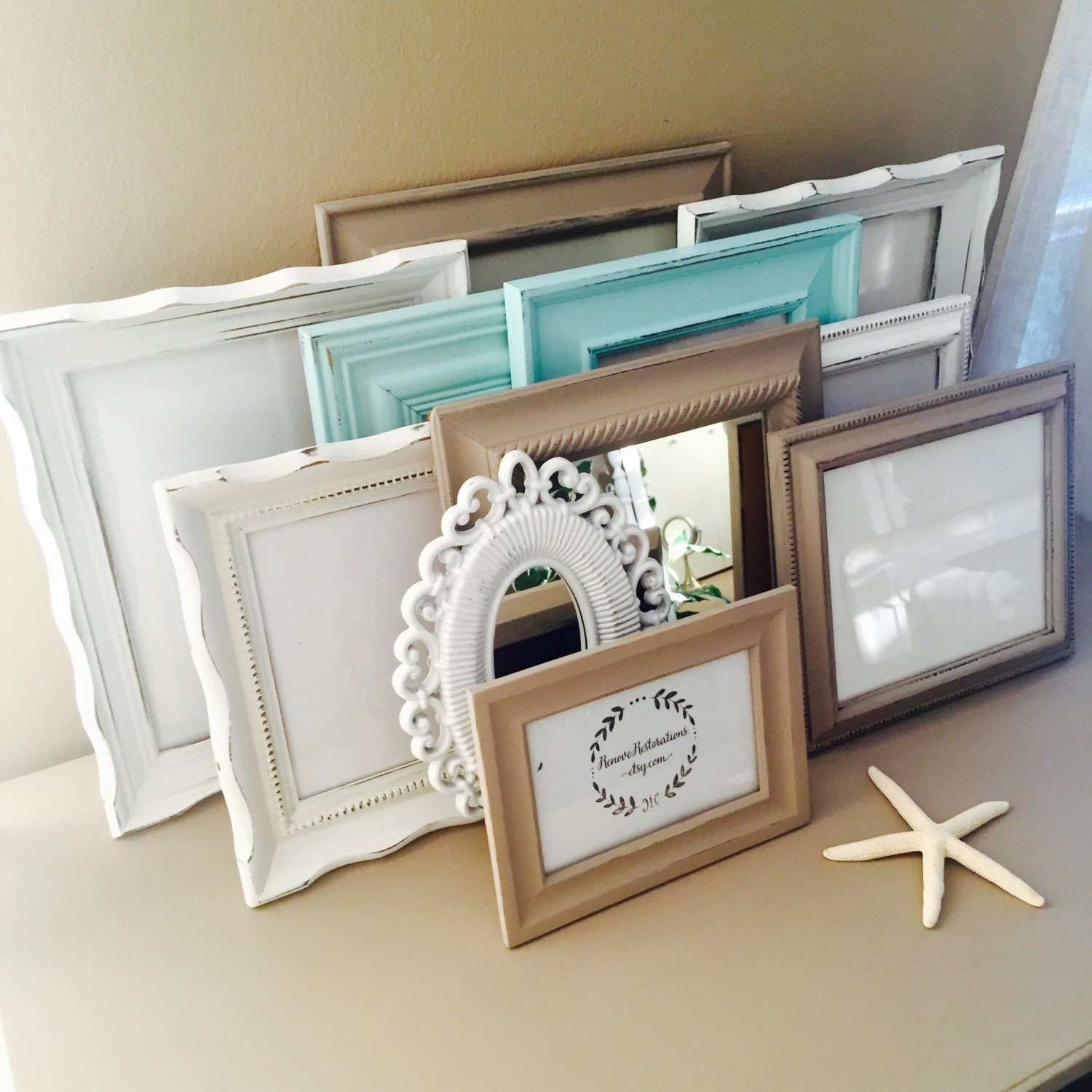 Gallery Wall Frames Set custom taupe and blue gallery wall frame set hand-painted and