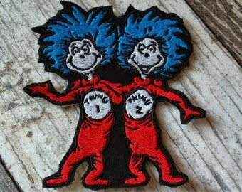 READY TO SHIP!!! Thing 1&2 Dr. Seuss - Cat in the Hat Inspired Embroidered Iron On Patch! Ready to ship!