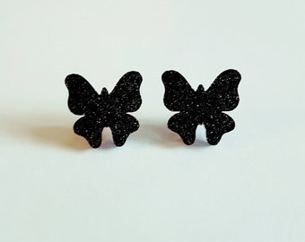 SALE Black glittery acrylic butterfly stud earrings.