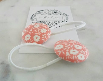 Floral fabric button hair elastics