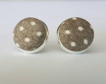 Grey and white fabric button stud earrings.