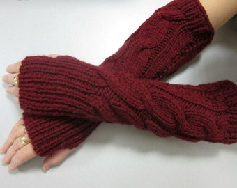 Knitted Arm Warmers, Burgundy Arm Warmers, Elbow Length Warmers, Women's Arm Warmers, Winter Accessory, Ready To Ship