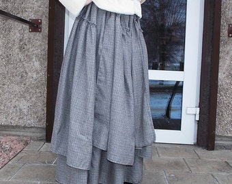 Maxi skirt.Pleated Skirt.Gray plaid.Boho skirt. Многослойная юбка в пол ,